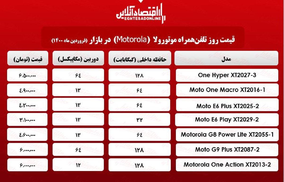 قیمت گوشی موتورولا/ ۲۴فروردین