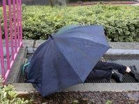خوابیدن زیر باران در لس آنجلس +عکس
