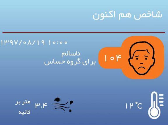 شاخص کیفیت هوا با عدد  ۱۰۴در شرایط ناسالم