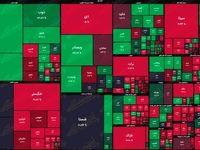 نقشه بازار سهام بر اساس ارزش معاملات/ روی سبز بازار کمی نمایان شد