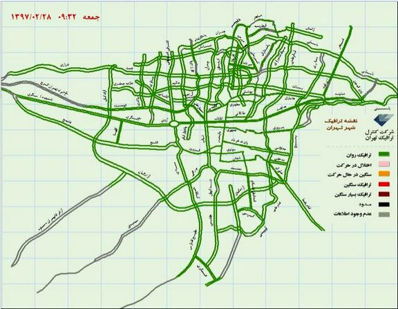 وضعیت ترافیکی پایتخت در صبح جمعه +نقشه