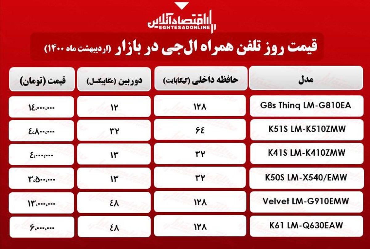 قیمت گوشی ال جی در بازار / ۴اردیبهشت