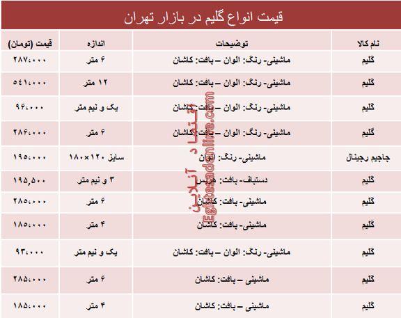 نرخ انواع گلیم در بازار تهران؟ +جدول