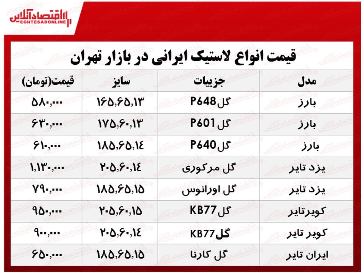 قیمت انواع لاستیک ایرانی خودرو در بازار؟ +جدول