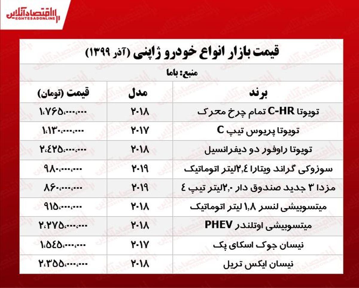 قیمت انواع خودرو ژاپنی در بازار تهران +جدول