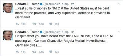توئیت ترامپ درباره دیدار جنجالیاش با مرکل +عکس