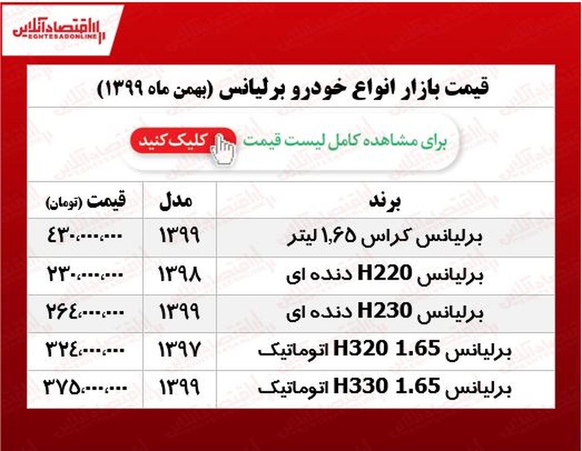 قیمت خودرو برلیانس در پایتخت +جدول