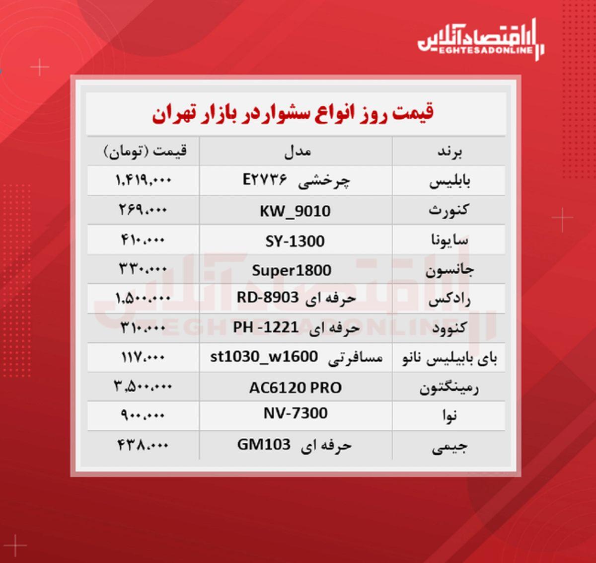 قیمت جدید سشوار (شهریور ۱۴۰۰)