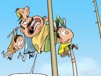 پرش خانوادگی از خط فقر!(کاریکاتور)