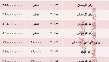 قیمت جدید انواع خودروی رنو در بازار تهران +جدول