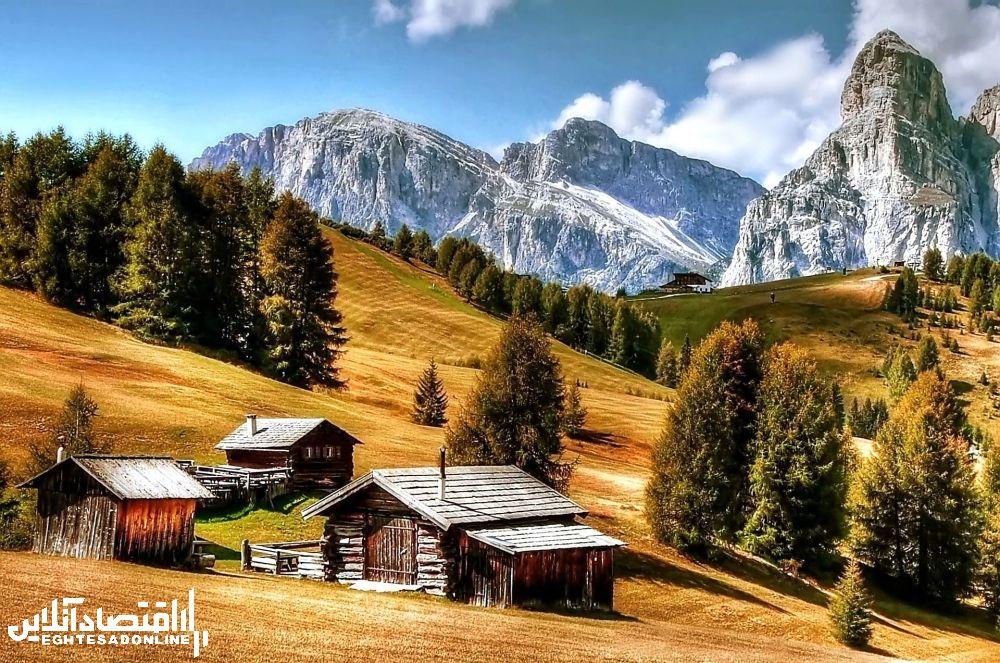 منظره کوهستانی دولومیت ایتالیا.
