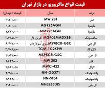 مظنه انواع ماکروویو در بازار تهران؟ +جدول