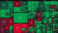 نقشه بورس امروز بر اساس ارزش معاملات/ رشد دو درصدی شاخص کل در دقایق ابتدایی