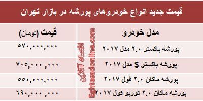"""انواع """"پورشه"""" در بازار تهران چند؟ +جدول"""