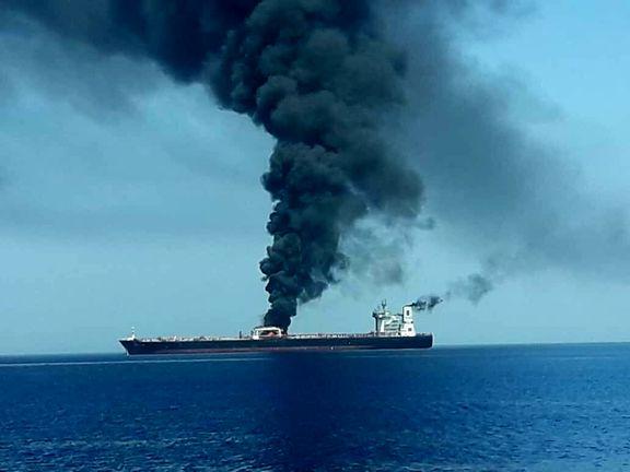 یک نفتکش در نزدیکی سواحل شارجه آتش گرفته