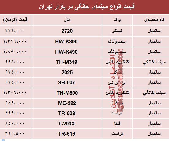 نرخ انواع سینما خانگی در بازار تهران؟ +جدول
