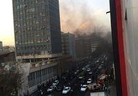 آتشسوزی مقابل تالار بورس تهران +عکس