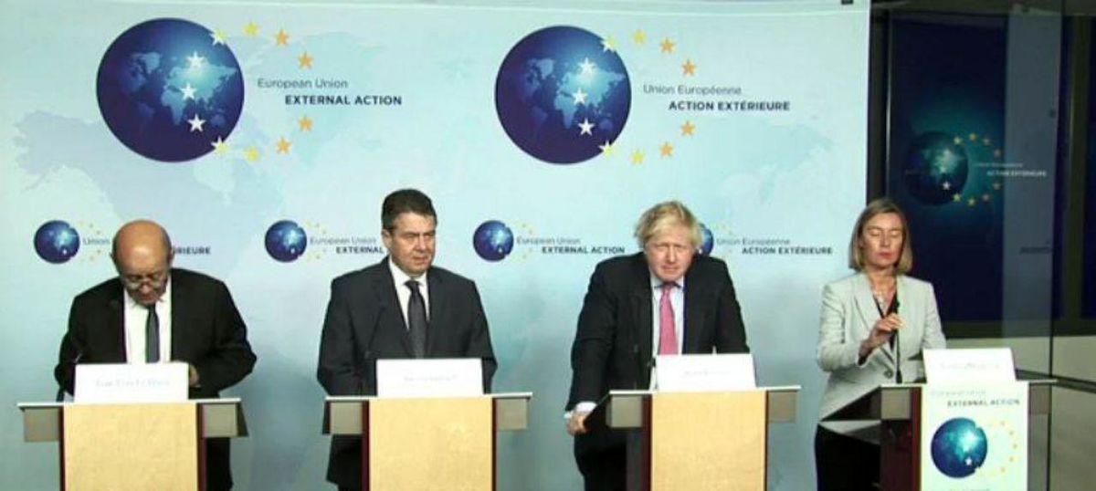 پایان رایزنی ظریف، لودریان، جانسون، گابریل و موگرینی/ اتحادیه اروپا مصمم به حفظ برجام