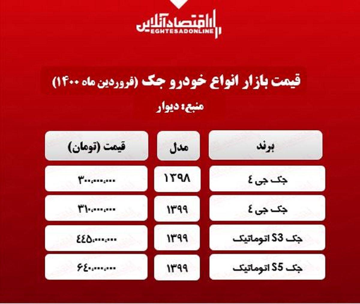 قیمت خودرو جک در تهران + جدول