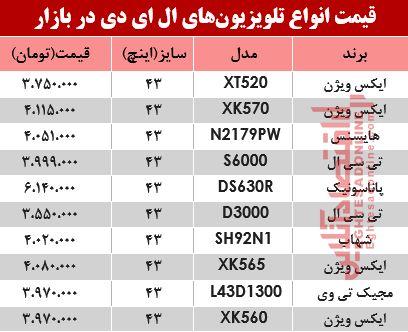 تغییر قیمت انواع تلویزیونLED چقدر شد؟ +جدول