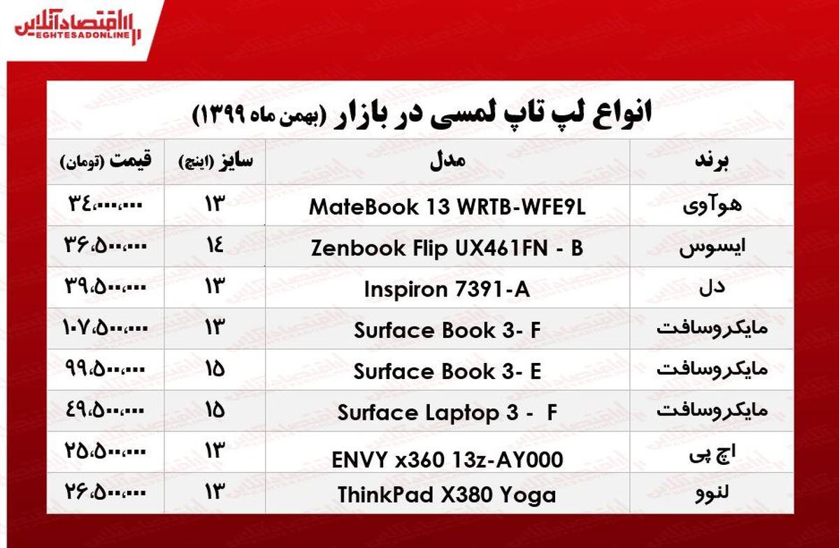 قیمت روز انواع لپ تاپ لمسی/ ۲۹بهمن ۹۹