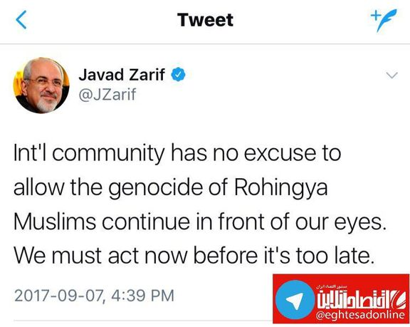 ظریف: توجیهی برای نسلکشی مسلمانان وجود ندارد