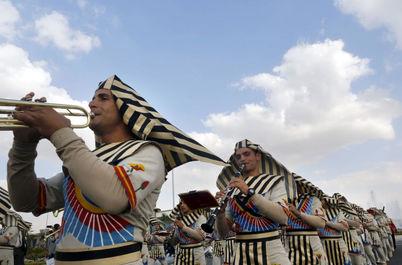 ارکستر نظامی در افتتاحیه نمایشگاه بین المللی تسلیحات EDEX 2018 در مصر