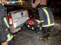 مرگ راننده خودرو زیر چرخ تریلی +عکس