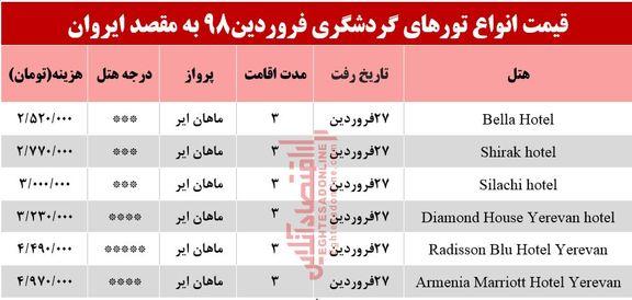 تور 3روزه ایروان ارمنستان چند؟