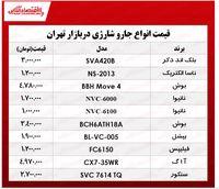 قیمت انواع جارو شارژی در بازار چند؟ +جدول