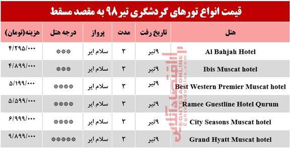 تور 3روزه مسقط عمان چقدر هزینه دارد؟
