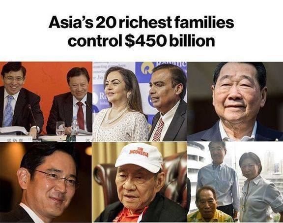 ثروتمندترین خانوادههای آسیایی/ 450میلیارد دلار در دست 20خانواده!
