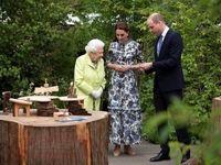 بازدید ملکه انگلیس از باغ طراحی شده کیت میدلتون +فیلم