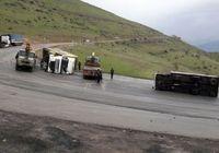 واژگونی کامیونت ایسوز در بزرگراه امام علی(ع)