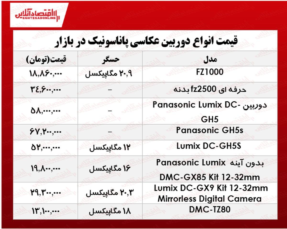 دوربینهای عکاسی پاناسونیک در بازار چند؟ +جدول