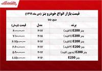 قیمت انواع بنز در تهران +جدول