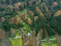 عکس هوایی از رانش زمین در «اتسوما»ی ژاپن