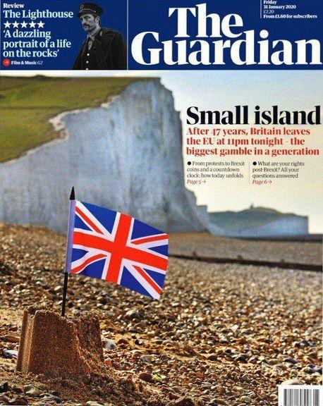 جزیره کوچک، تیتر یک روزنامه گاردین برای خروج بریتانیا از اتحادیه اروپا