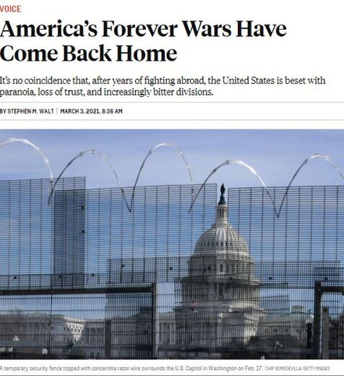 مشکلات امنیت داخلی آمریکا بخاطر ماجراجوییهای خارجی است