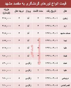مظنه سفر بهاری به مشهد +جدول