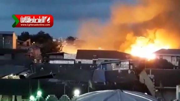 مسجد ساری هنگام اذان مغرب در آتش سوخت +فیلم