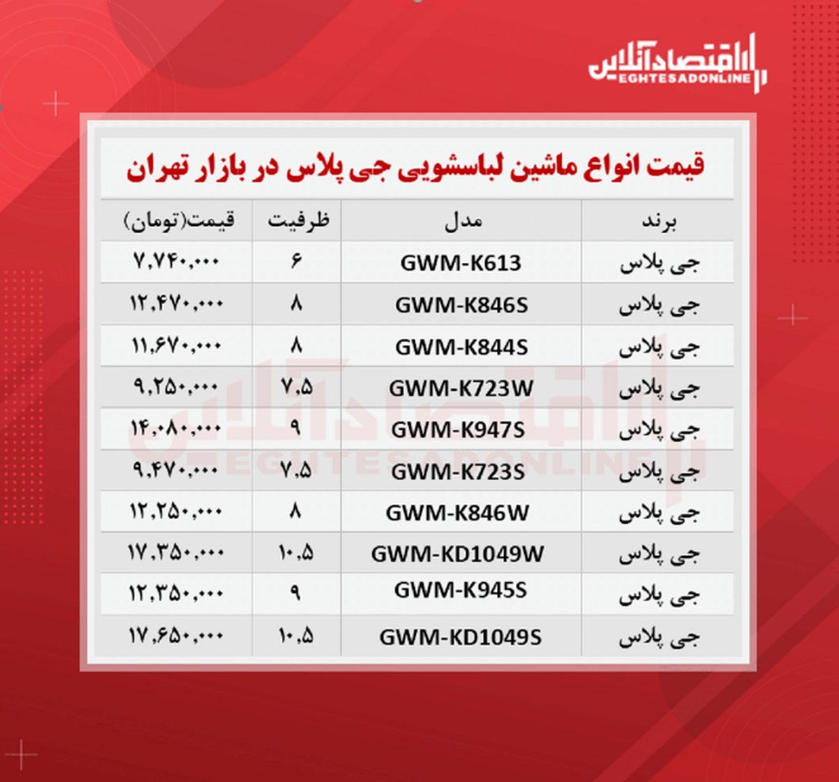 قیمت جدید ماشین لباسشویی جی پلاس (۱۴۰۰/۶/۲۰)