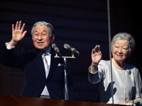 امپراتور ژاپن و همسرش در دیدار سال نو +عکس