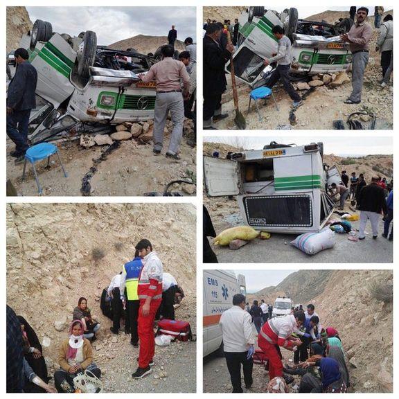 ۳۶ کشته و زخمی در واژگونی مینیبوس محور بجنورد +عکس