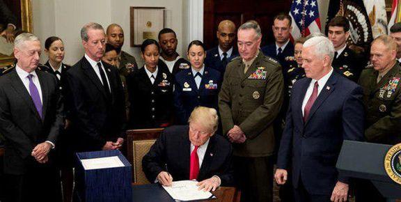 ترامپ با بودجه ۷۵۰میلیارد دلاری 2019پنتاگون موافقت کرد