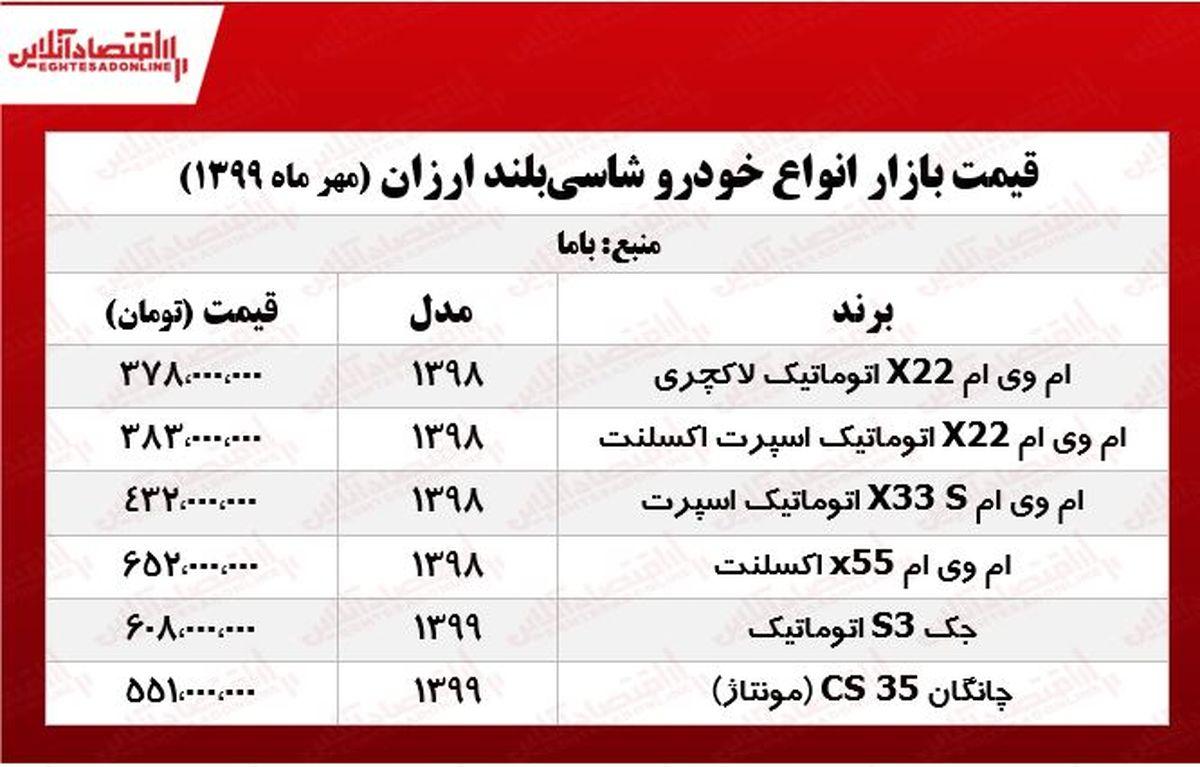 قیمت خودروهای شاسیبلند ارزان +جدول