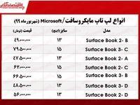 قیمت انواع لپتاپ مایکروسافت در بازار +جدول