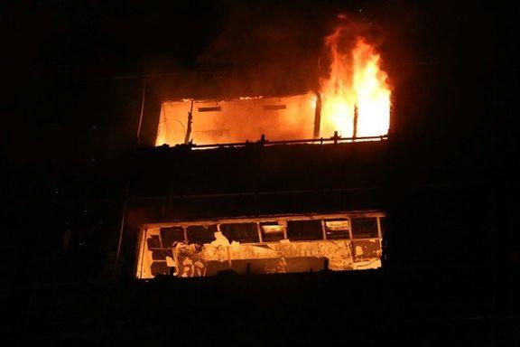 آتشسوزی مهیب ۴ باب منزل مسکونی در رشت