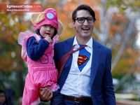 ترودو، نخست وزیر کانادا و پسرش هادریان در جشن هالووین +عکس