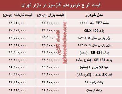 خودروهای گازسوز  بازار چند؟ +جدول